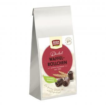 Rosengarten DINKEL WAFFELRÖLLCHEN in Zartbitter-Schokolade, BIO, 200g